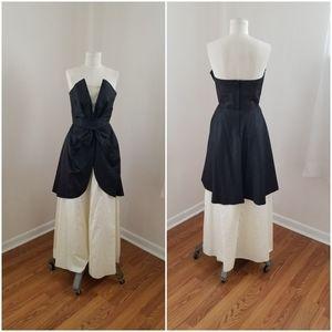 Glamorous 80s vtg strapless black/white moire gown